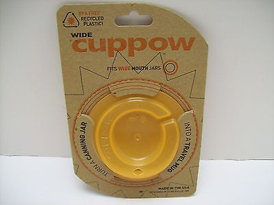 Cuppow Wide Drinking Lid Fits Wide Mouth Mason Canning Jars - NEW - U.S.A. Made