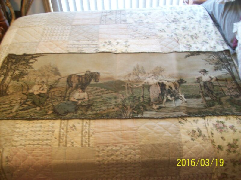 Tapestry Wall Hanging Antique Machine Woven Dutch Farm Couples 5