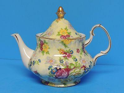 Beautiful Chintz Floral Teapot Gold Trim     LRL53