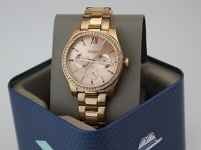 NEW AUTHENTIC FOSSIL SCARLETTE ROSE GOLD CRYSTALS GLYTZ WOMEN'S ES4315 WATCH