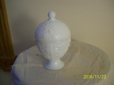 Opaque White Milk Glass Vintage Covered Avon Trinket Dish
