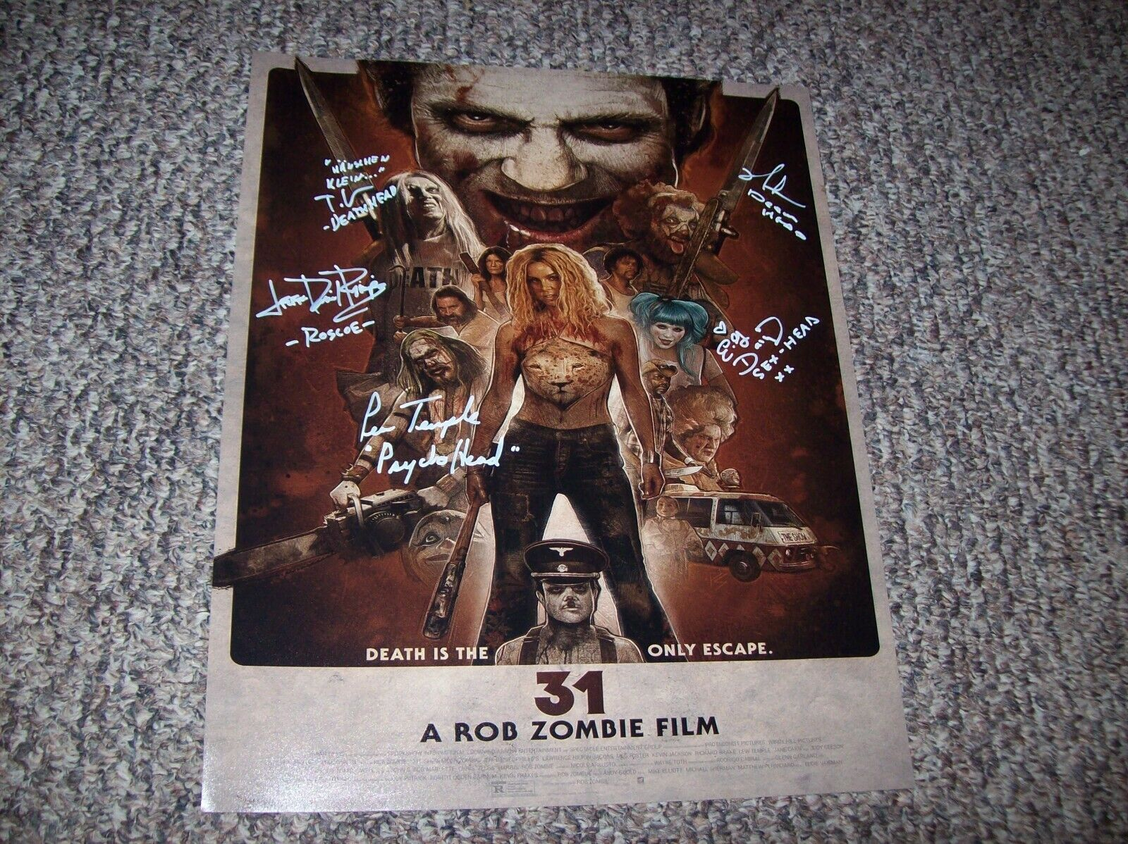 31 Rob Zombie Horror Movie Cast Autographed 16X20 Photo Hand Signed By 5 - $51.00