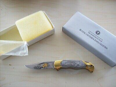 Vintage Boker Knife Solingen W.Germany Pewter Wild Turkeys Scene UNUSED Orig Box