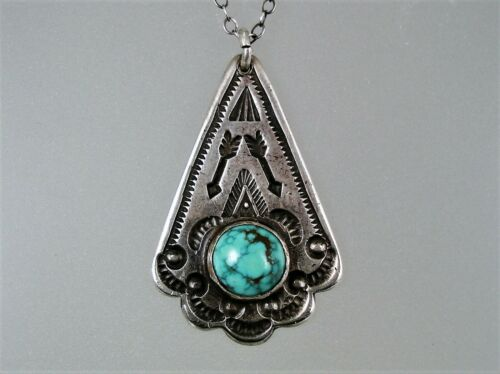 EARLY Fred Harvey / NAVAJO STAMPED STERLING SILVER & TURQUOISE NECKLACE PENDANT