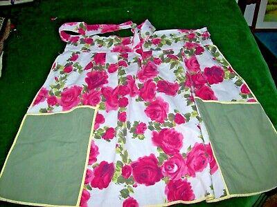 Vintage cotton Half Apron-c.1950? c.1960? Roses Pattern-Shabby Chic!!