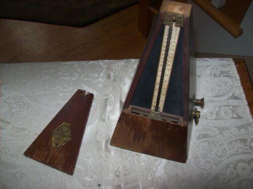 Vintage Antique  Wood Metronome De Maelzel Paris France with Notice and Bell