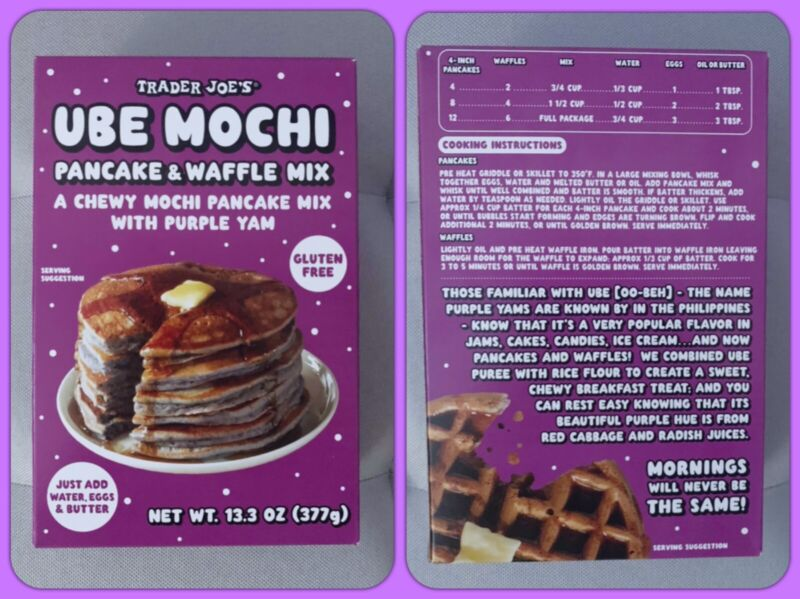 NIB Trader Joe's UBE MOCHI Pancake Waffle Mix Exp 11/24/2022 Gluten Free Rare