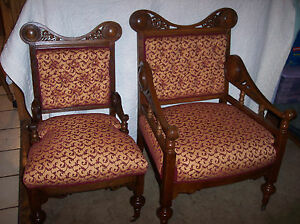 Pair-Quartersawn-Oak-Pierced-Carved-His-Hers-Armchairs-AC62