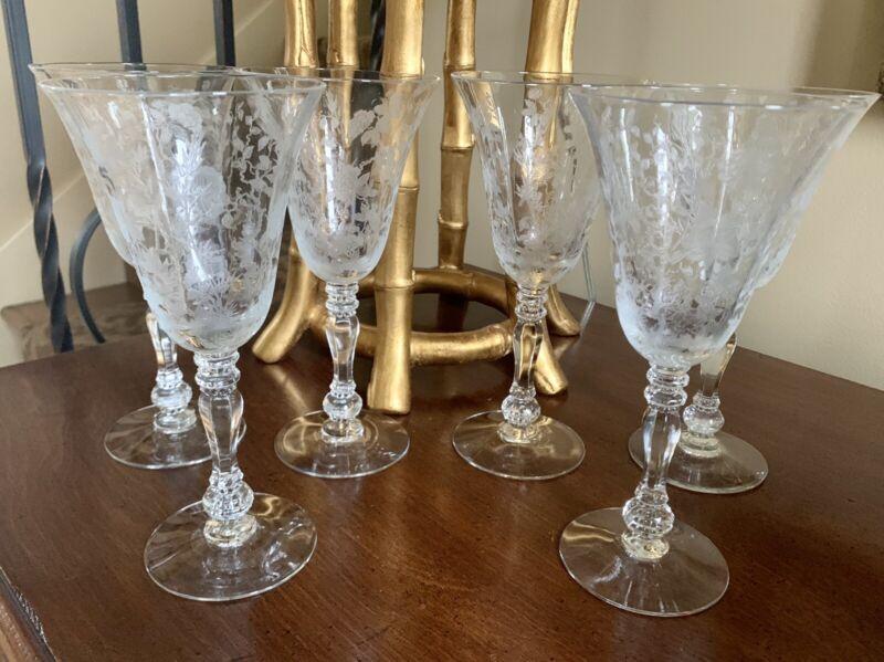 Vintage Set Of 6 Fostoria? Floral And Vine Etched Wine Glasses