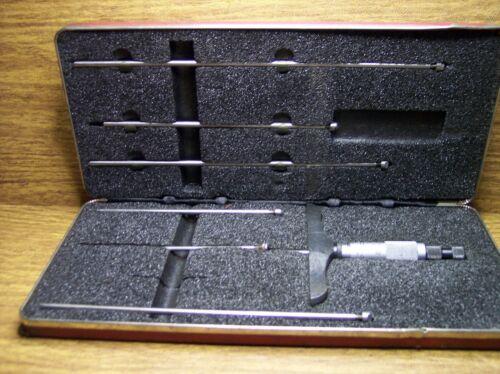 """Starrett No. 445 Depth Micrometer .001"""" Ratchet Stop & Case"""