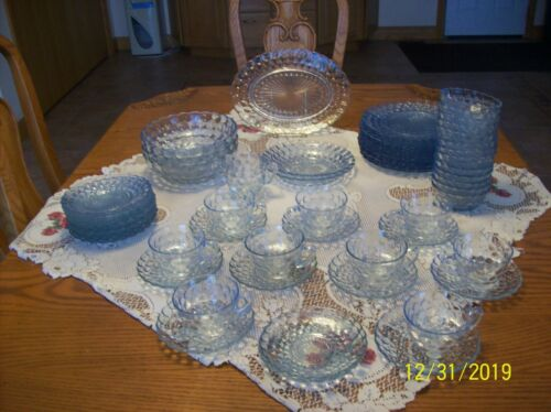 Anchor Hocking Vtg Bubble Sapphire Blue Depression Glass Dinnerware 62 Pieces