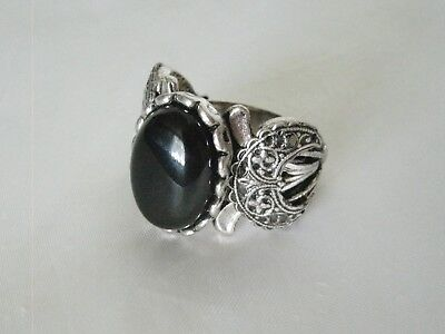 Black Onyx Triple Moon Ring, wiccan pagan wicca witch witchcraft gothic goddess (Witches Ring)