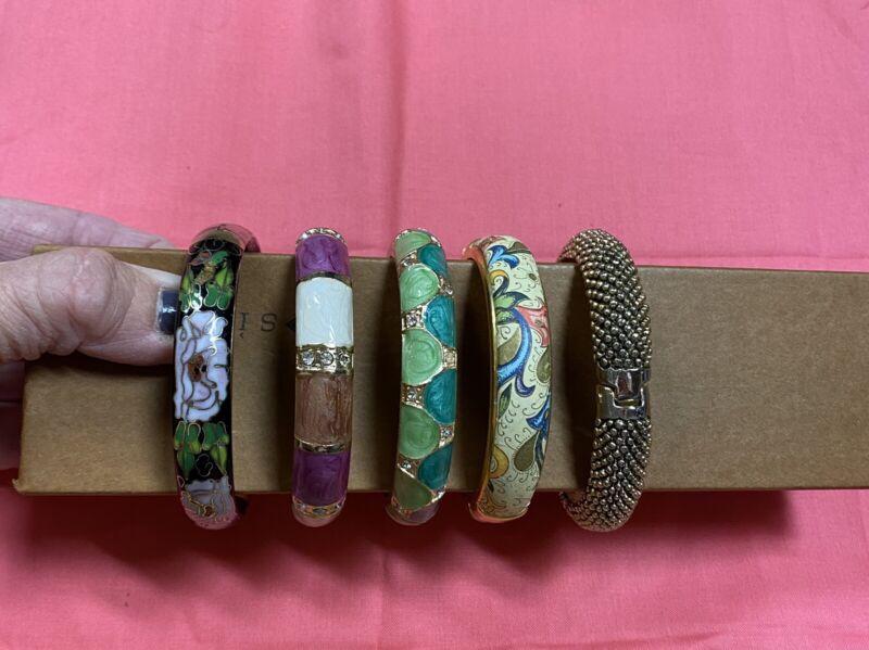 Estate Find Gold Tone/Floral Heavy Metal Bangle Bracelet Lot x5 Used
