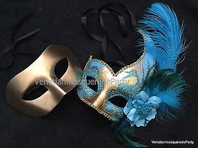 Turquoise Light Blue Mask Boys and Girls Venetian Masquerade ball Dress up Party