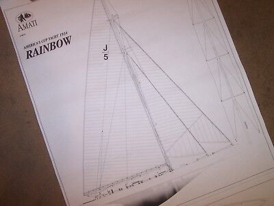americas cup  1934  yacht  RAINBOW model plans  for sale  Shipping to Canada