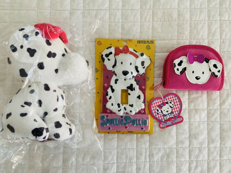 "Sanrio Spottie Dottie Dalmatian Dog 6"" Plush Light Switch Plate Coin Purse NWT"