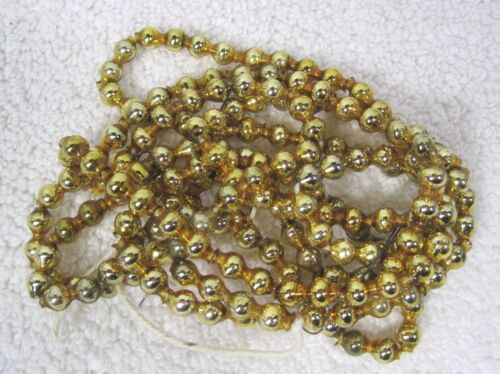 "OLD GOLD Mercury Glass Double Bar Bead Christmas Garland 55"" 1/2"" Beads GLD5"