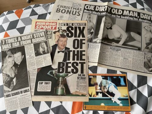 Steve Davis Snooker Newspaper Cuttings Including 1985 Black Ball Final!