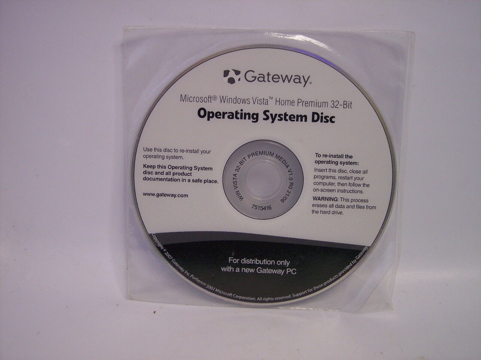 GATEWAY 7515416 OPERATING SYSTEM DISC