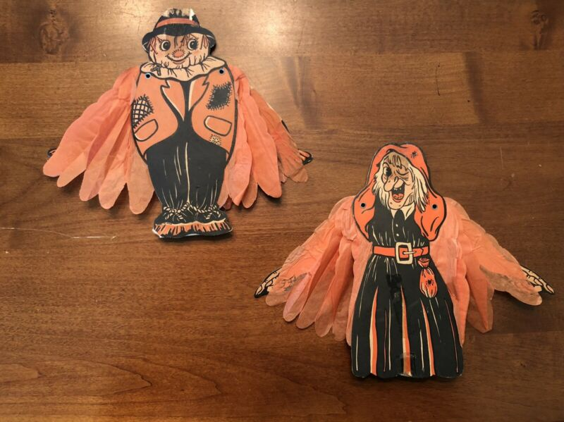Vintage Beistle Honeycomb/crepe Witch & Scarecrow 1950 USA Cardboard No Reserve!