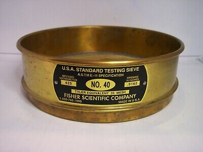 8 Id U.s.a. Standard Testing Sieve No.40 Screen 425mm Or .0165 Fisher Co.