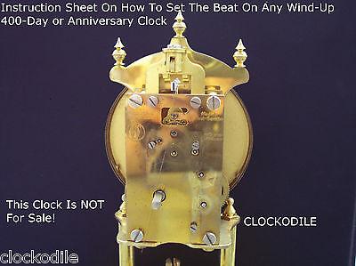 400 Day Anniversary Clock Set Beat Instruction Sheet     Service Repair Parts