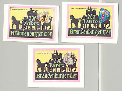 Sierra Leone 1991 Brandenburg Gate 3v S/S Imperf Essays on 3v Cards