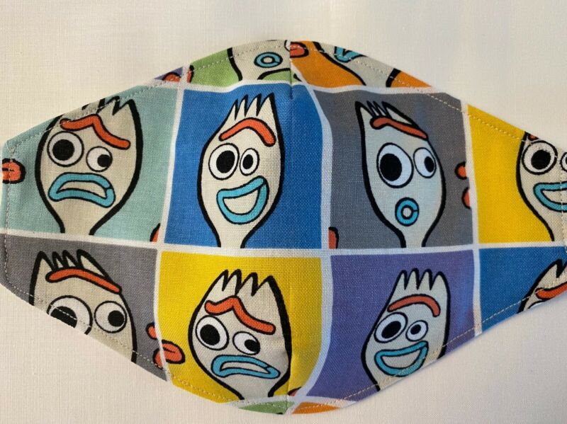 Child Disney Forky cotton Face Mask Homemade 3 layers Washable