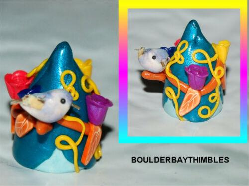 BOULDER BAY THIMBLE #218 PALE BLUE BIRD on METALLIC BLUE BELL FLOWER