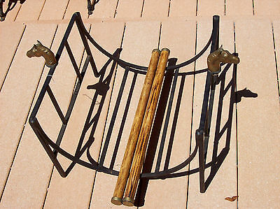 Horse Wood Rack - Equestrian Hearthside Metal Log Fire Wood Holder Rack w Brass Horse Heads RARE