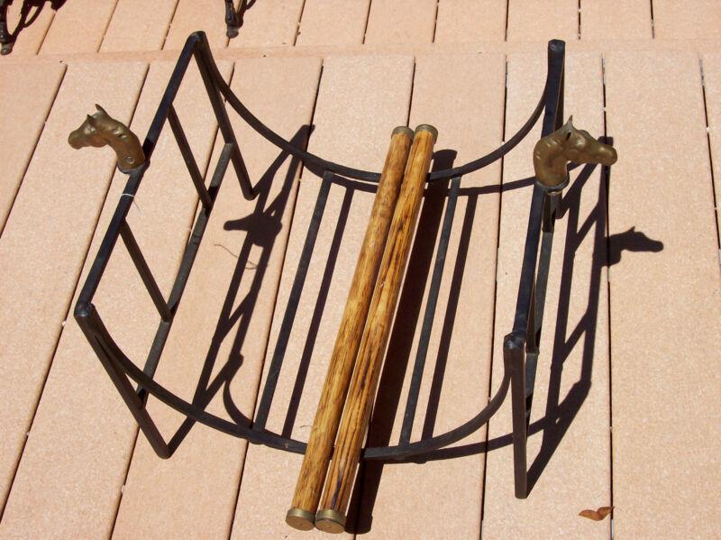 Equestrian Hearthside Metal Log Fire Wood Holder Rack w Brass Horse Heads RARE