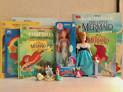 Vintage Disney Little Mermaid Ariel Activity Book Tyco Doll Figure Toy Lot