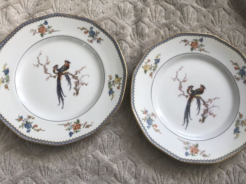 Vintage Theodore Haviland  Limoges  France Decor Peacock Plates Two