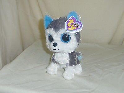 Slush 2012 Ty Beanie Babie Boos 6In Husky Dog Solid Eyes Purple Tag 36006