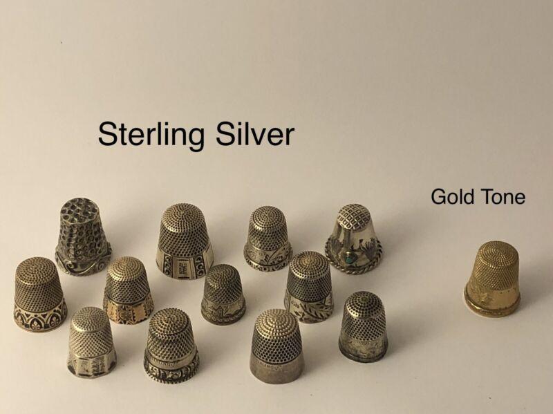 Old victorian art nouveau deco sterling silver RARE thimble lot JL 051721@