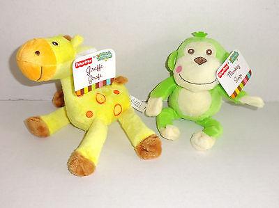 New Fisher Price Animals of the Rainforest Plush Giraffe Monkey Set Lot P59 - Fisher Price Animals Of The Rainforest