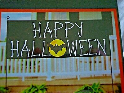 HALLOWEEN 6 foot JUMBO BANNER 'Happy Halloween', Bat & Moon In/Outdoor Sign NEW!