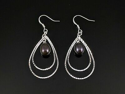 Black Pearl Dangle Earrings - 7-8mm Genuine Freshwater Black Pearl Dangle Earrings