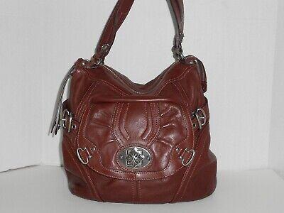 B. Makowsky Large Dark Brown Leather Purse Handbag Bag