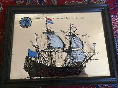Vintage Ship Design Mirror Aemilia Holland Good Condition