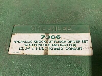 Greenlee 7306 Hydraulic Knockout Driver Set And Accessories.