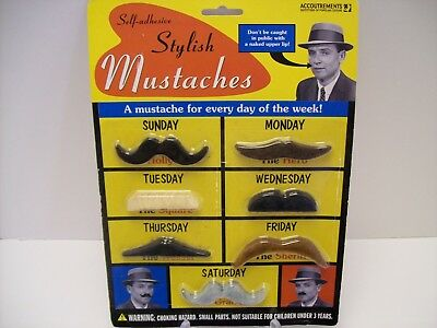 7 Costume Stylish Mustaches Self-Adhesive - Halloween/Party - 7 Days of the Week