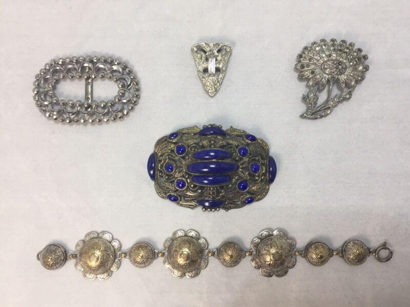 Antique Victorian Jewelry Finding Lot Bracelet Buckle Pins Clip Rhinestones