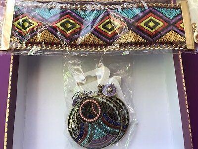 Nwt! Southwest Beaded Earrings & Aztec Ribbon - Bangle Beaded Earrings