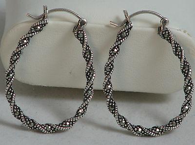 Large & Light 925 Sterling Silver & Marcasite Twisted Hoop Pierced Earrings