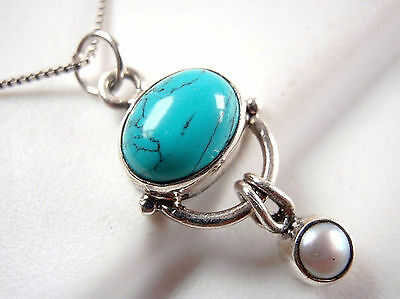 Turquoise and Natural Dangle Pearl 925 Sterling Silver Pendant New