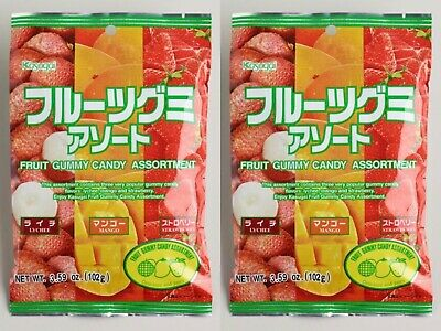 Kasugai Fruit Gummy Candy Assortment Lychee Mango Strawberry 3.59oz ( 2 Pack ) Kasugai Mango Gummy
