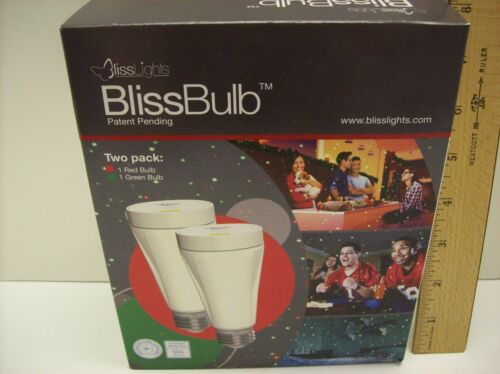 BlissBulb – Two Pack 1 Red and 1 Green PinPoints of Laser Light Bulb - NEW