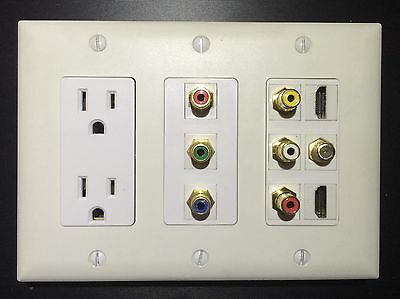 3 GANG Power Outlet 2x HDMI 1x Coax Composite & Component Stereo Wall Plate RGB Hdmi Coax