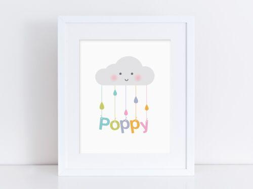 Happy Cloud (Rainbow) - Personalised Nursery Print - Baby Room - Wall Art - Name